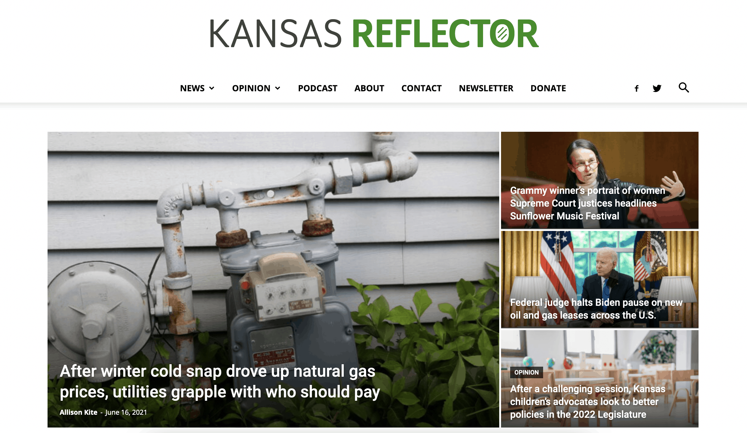 The homepage of the Kansas Reflector, with several stories displayed